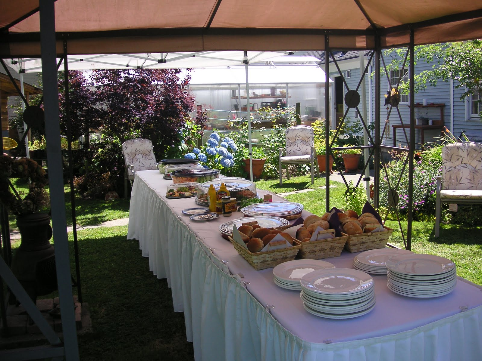 The banquet was set up buffet style under tents in my backyard the