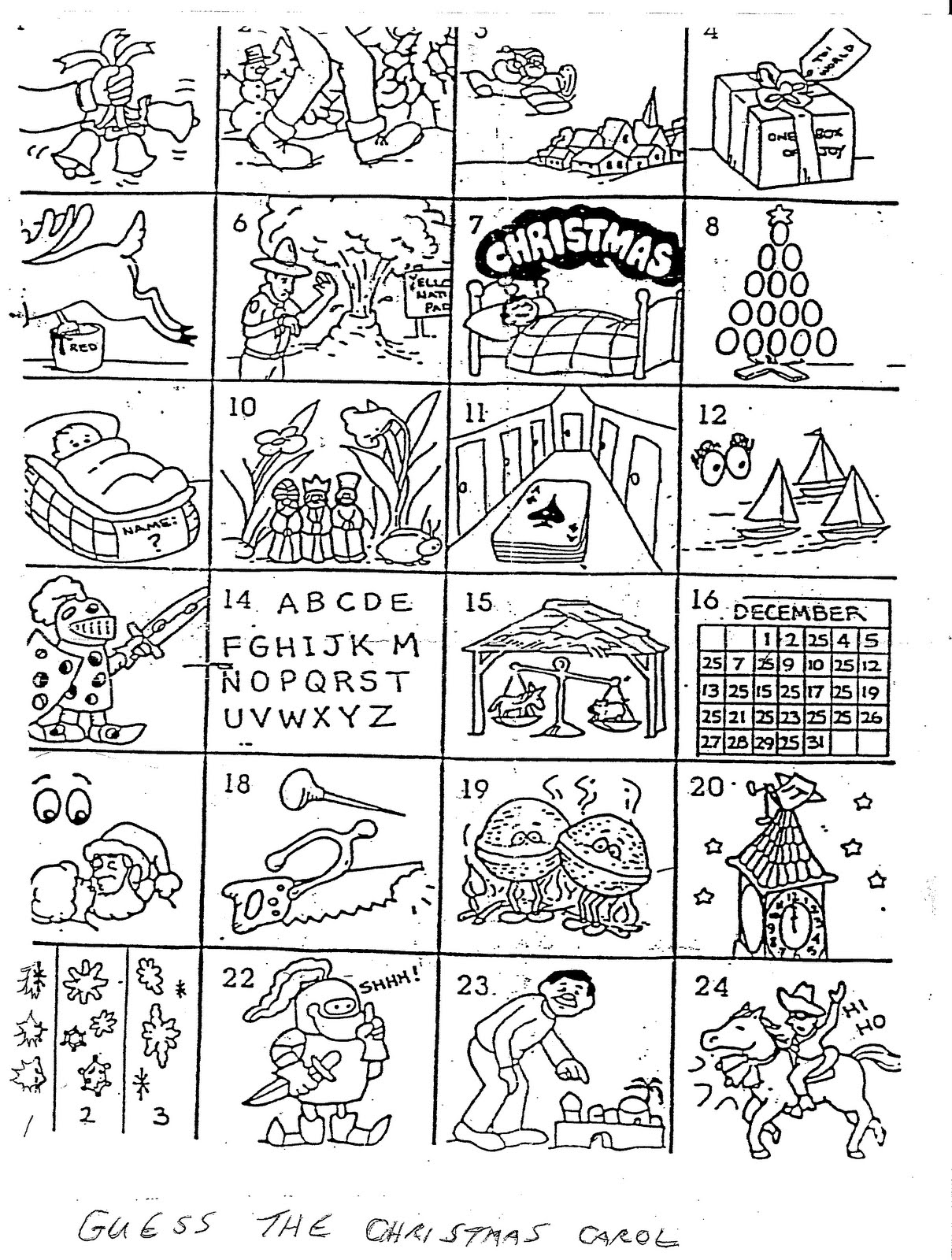 Can You Name the Christmas Carol in each Box?