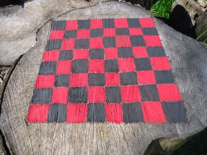 checker game board on stump