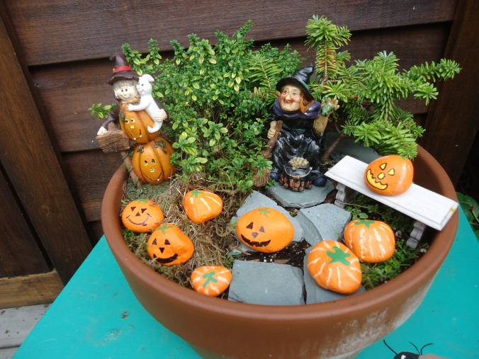 create a halloween miniature garden