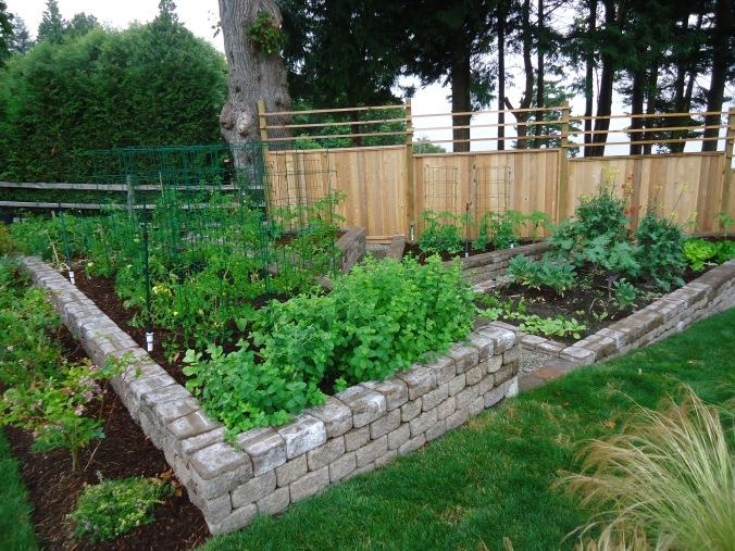 using brick as walls for vegetable gardens